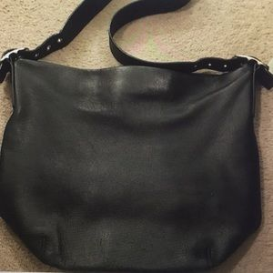 Coach large black leather bucket bag